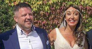 Brian O'Callaghan-Westropp and Zoe Holohan on their wedding day on Thursday.