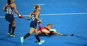 England's Alex Danson scores her side's goal during the  Women's Hockey World Cup match at the Lee Valley Hockey and Tennis Centre in London. Photograph:  Steven Paston/PA Wire