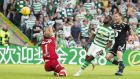 Celtic's Odsonne Edouard scores his second and  side's third goal of the  Champions League second qualifying round, first leg match against Rosenborg  at Celtic Park. Photograph: Jeff Holmes/PA Wire