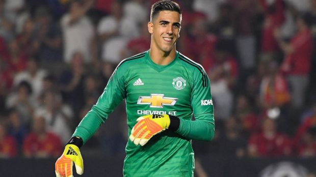 Joel Pereira during Manchester United's penalty shootout win over AC Milan. Photograph: John McCoy/Getty