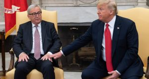 US President Donald Trump meets with European Commission president Jean-Claude Juncker in the Oval Office of the White House.
