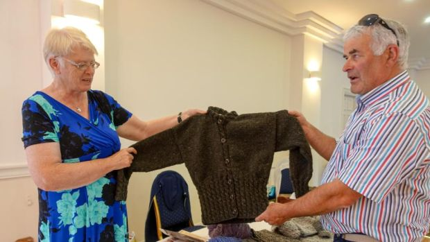 Kathleen Meehan and Seamus McBrearty from Kilcar, Co Donegal. By the time I turn up at the Bay View Hotel, Kathleen had sold all of the 10 hand-knit Aran jumpers she had with her