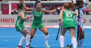 Anna O'Flanagan of Ireland celebrates scoring  the winning goal. Photograph: Christopher Lee/Getty Images