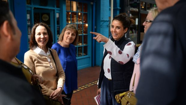 Carole Freilich from Florida, Julie Glock from London and Erica Drum of Fab Food Trails outside Lolly and Cooks in the George's Street Arcade, Dublin. Photograph: Dara Mac Dónaill