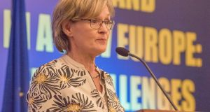 Mairead McGuinness MEP addresses the MacGill Summer School:  research shows a woman has only one-third of the opportunity of a man to speak at forums. Photograph: North West Newspix