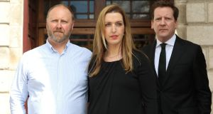 Vicky and Jim Phelan with solicitor Cian O'Carroll in April, following the announcement of Ms Phelan's High Court settlement. Photograph: Collins Courts