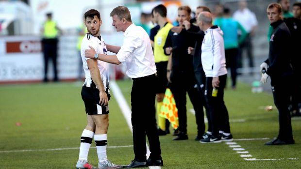 Dundalk striker Patrick Hoban looks back at the referee as he calls him back after mistakenly sending him off during the Europa League second qualifying round first leg against AEK Larnaca at Oriel Park. Photograph: Ryan Byrne/Inpho