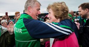 Limerick manager John Kiely celebrates with his mother Breda after the quarter-final victory over Kilkenny in Thurles. Photograph: Tommy Dickson/Inpho