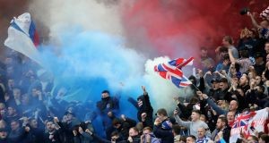 Rangers supporters attending the Old Firm game against Celtic at Celtic Park  on April 29th, 2018. Photograph:  Ian MacNicol/Getty Images