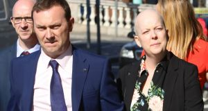 Paul and Ruth Morrissey at the Four Courts on Thursday. Ms Morrissey, who has been told by her doctors  she has less than a year to live, is the fourth women affected by the CervicalCheck scandal to go to court.  Photograph:  Collins Courts