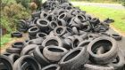 Some of the tyres found at a disused customs weighbridge between Carrickarnon and Ravensdale junctions. Photograph: Cllr Antóin Watters