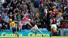 Clare's Jason McCarthy scores the equalising point against Galway at Croke park. Photograph: Ryan Byrne/Inpho