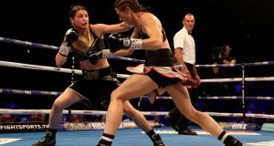 Katie Taylor moved her professional record to ten wins from ten after she stopped Kimberly Connor in London. Photograph: Nick Potts/P