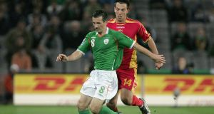 A file image of Liam Miller playing for the Republic of Ireland against  Montenegro in a World Cup qualifier in 2009. Photograph: Morgan Treacy/Inpho.