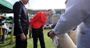 British prime minister Theresa May presents the prize for best sheep during a visit to the Royal Welsh Show last week.   Photograph:  Christopher Furlong/WPA Pool/Getty Images