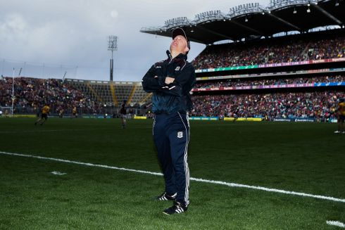 GAA Hurling All-Ireland Senior Championship Semi-Final, Croke Park,  Galway manager Michael Donoghue reacts late in the game Photo: INPHO/Tommy Dickson