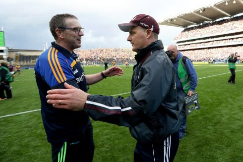 Galway manager Michael Donoghue with Clare manager Donal Moloney after the game Photo: INPHO/Tommy Dickson