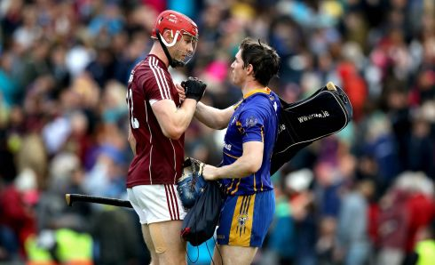 Galway's Jonathan Glynn with goalkeeper Donal Tuohy of Clare after the game ended in a draw  Photo: INPHO/Ryan Byrne