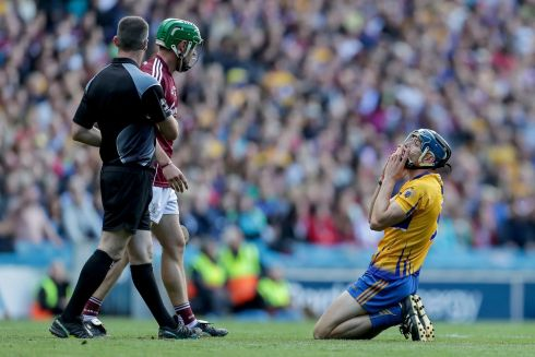 Clare's David McInerney reacts to a decision Photo: INPHO/Laszlo Geczo
