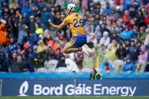 Clare's Aron Shanagher celebrates scoring a goal Photo: INPHO/Tommy Dickson