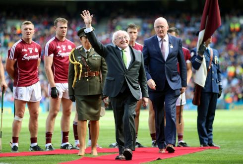 President of Ireland Michael D Higgins acknowledges the crowd Photo: INPHO/Tommy Dickson