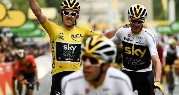 Tour de France winner Geraint Thomas (left) wearing the leader s yellow  jersey and third 72df3d280