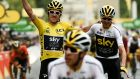 Tour de France winner Geraint Thomas (left) wearing the leader's yellow jersey and third-placed Chris Froome (right) cross the finish line. Photo: Philippe Lopez/AFP/Getty Images
