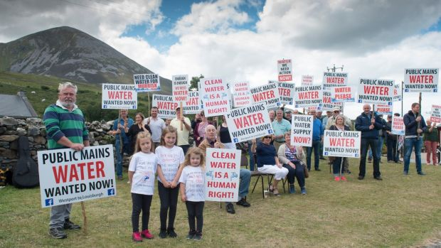 Murrisk and Louisburgh water protesters at base of Croagh Patrick on Reek Sunday. Residents claim €6.3 million allocated in 2007 to provide a water supply for 3,000 people has not been delivered. Photograph: Michael McLaughlin