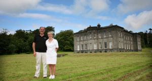 Eddie Walsh and Constance Cassidy at Lissadell House. Mr Walsh  said he has tried a number of different providers but has never got a satisfactory broadband connection. Photograph: Brian Farrell