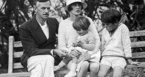 Family portrait of Eugene O'Neill seated with his wife, Agnes Boulton, and their two children, Oona  and Shane, outside their home in Bermuda circa 1925. Photograph: Hulton Archive/Getty Images