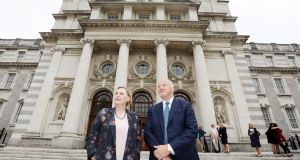 Co-chairs Bríd Horan of FBD Holdings and Gary Kennedy of Greencore outside Government Buildings. Photograph: Leah Farrell / RollingNews.ie
