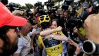 Tour de France winner  Geraint Thomas  hugs  his wife Sarah-Ellen  after the final stage to Paris on Sunday. Photograph: Thomas Samson/AFP/Getty Images