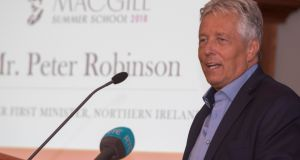 Former first minister Peter Robinson addressing the MacGill Summer School. Photopgraph: North West Nespix