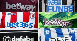 Clockwise from top left: West Ham, Newcastle, Norwich, Huddersfield, Fulham and Stoke are among the 26 teams in the top two divisions sponsored by gambling firms. Composite: Clubs/Rex/Shutterstock/Getty Images