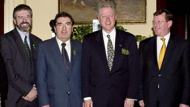 John Hume with Gerry Adams, Bill Clinton and David Trimble at the White House in March 2000. Photograph: Joyce Naltchayan/AFP/Getty Images