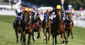 Andrea Atzeni riding Stradivarius (right, yellow cap) wins the Qatar Goodwood Cup Stakes from Torcedor (left, orange) at Goodwood. Photograph:  Alan Crowhurst/Getty Images