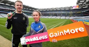 Tipperary hurler Noel McGrath and Monaghan ladies footballer Sharon Courtney at the launch of the GAA and HSE's  campaign at Croke Park. Photograph: Bryan Keane/Inpho