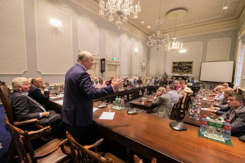 MAKING HIS CASE: Businessman Gavin Duffy, who has declared an interest in running for president of Ireland, addresses members of Waterford City Council. Mr Duffy is seeking a nomination to run from four local authorities. Photograph: Patrick Browne