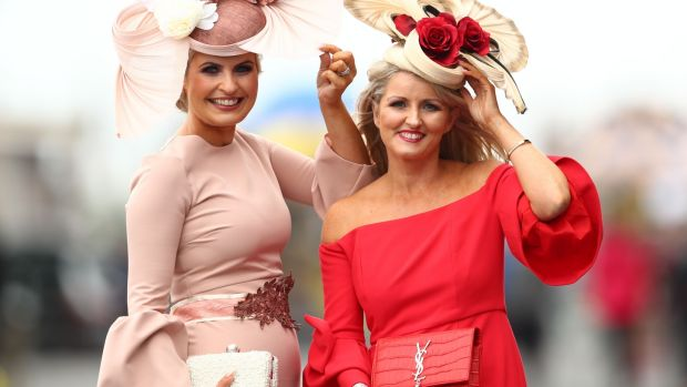 Corinna Hynes from Beltra, Sligo and Tracy McGuinness of Killybegs, Donegal, at the Galway Races. Photograph: James Crombie/Inpho