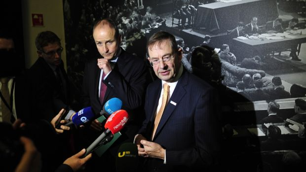 File image of Fianna Fáil leader Micheál Martin and Éamon Ó Cuív at the Mansion House, Dublin. File photograph: Aidan Crawley