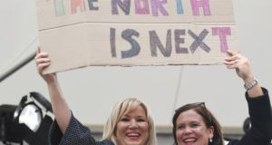 Sinn Féin leader in the North Michelle O'Neill and Sinn Féin leader Mary Lou McDonald celebrating the result of the abortion referendum in Dublin. Photograph: Reuters