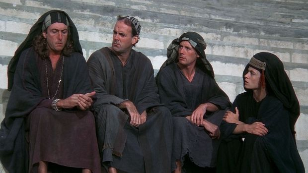 A scene from Monty Python's Life of Brian.