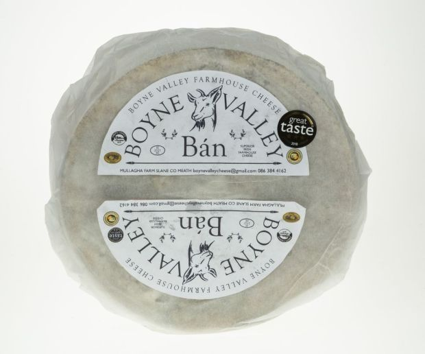 Boyne Valley Ban, a white goats' cheese matured in close proximity to a goats' blue, giving it a distinctive appearance and flavour, was one of 10 products from the Republic to earn three stars.