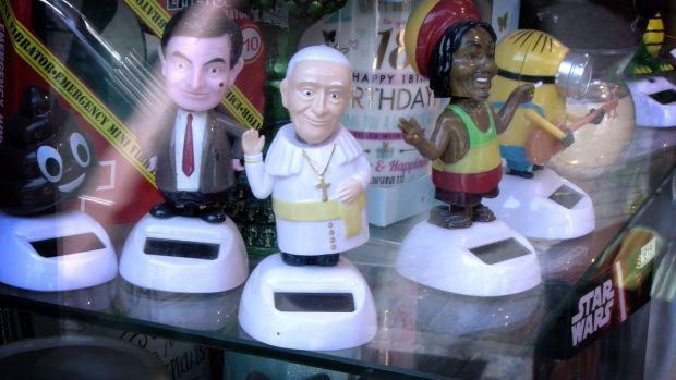 A humorous bobblehead toy doll of Pope Francis on sale in a store in Liffey Street Dublin. Photograph: Bryan O'Brien/The Irish Times