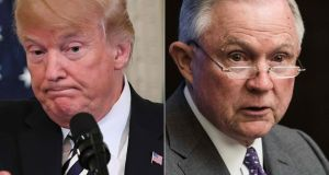 "US president Donald Trump urged attorney general Jeff Sessions to halt the Mueller investigation, calling it a ""rigged witch hunt"". Photograph: Saul Loeb, Nicholas Kamm/AFP/Getty Images"
