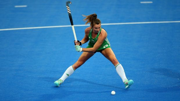 Ireland's Deirdre Duke scores a goal in the game against the USA. Photograph: Steven Paston/PA Wire
