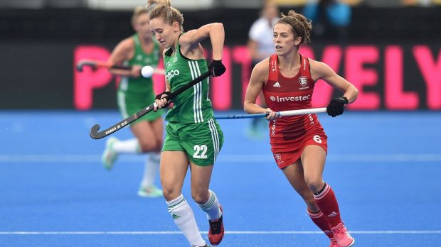 Ireland's Nicci Daly and Anna Toman of England in action. Photograph: Joe Toth/Inpho