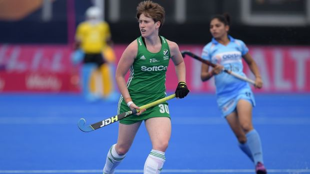 Ireland's Ali Meeke in action against India. Photograph: Joe Toth/Inpho