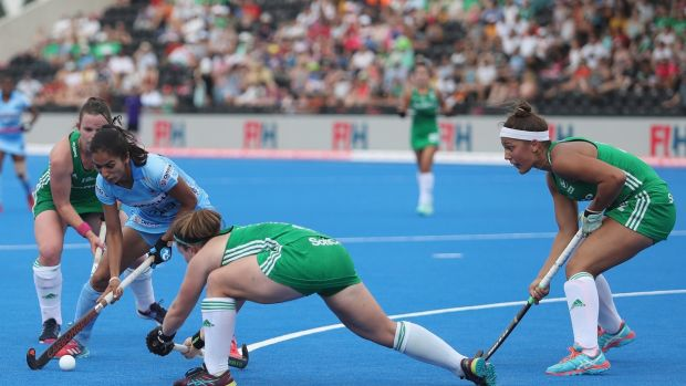 Ireland's Elena Tice (right) in action against India. Photograph: Christopher Lee/Getty Images