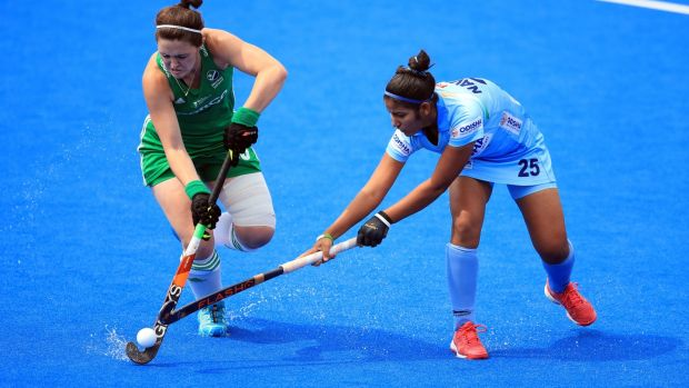 Ireland's Róisín Upton in action against India's Navneet Kaur. Photograph: Adam Davy/PA Wire